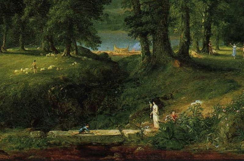 Thomas Cole. The Course of Empire: The Arcadian or Pastoral State. Detail.