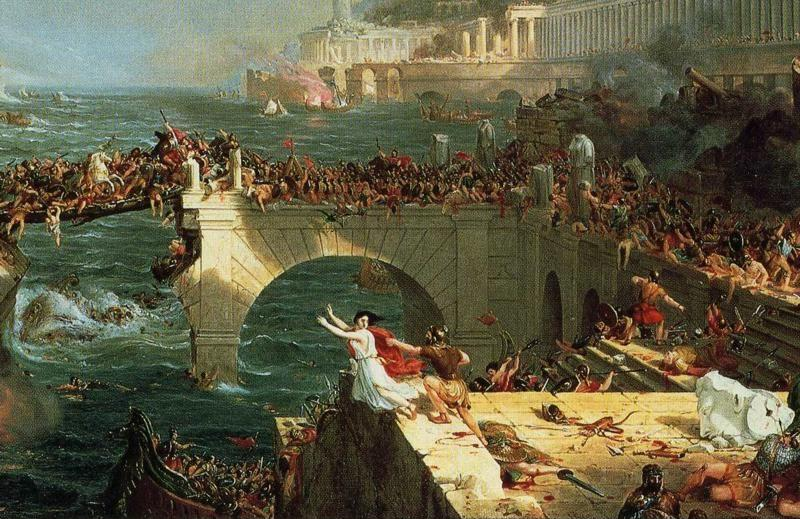 Thomas Cole. The Course of Empire: Destruction. Detail.