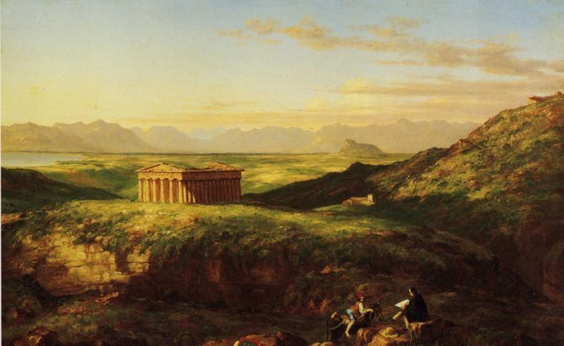 Thomas Cole. The Temple of Segesta with the Artist Sketching. Detail.