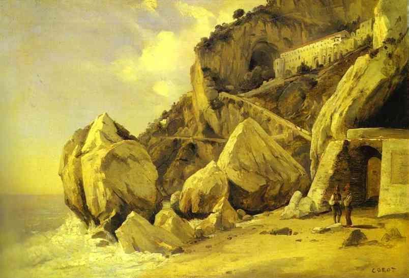 Jean-Baptiste-Camille Corot. Rocks in Amalfi.