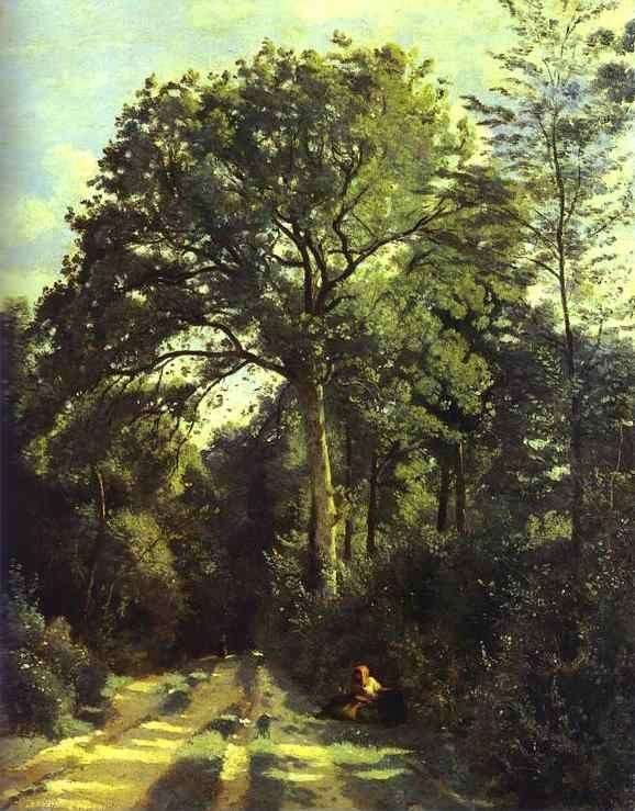 Jean-Baptiste-Camille Corot. Ville-d'Array: Entrance to the Wood with a Girl Tending Cows.