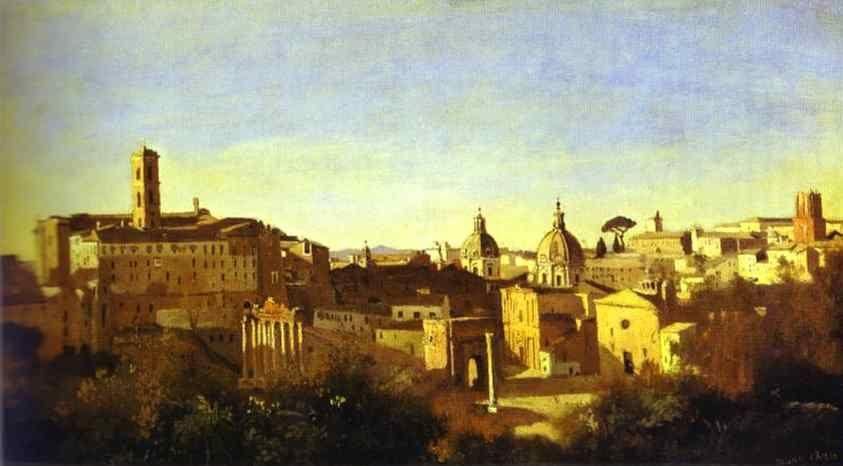 Jean-Baptiste-Camille Corot. Rome: The Forum Seen from the Farnese Gardens.
