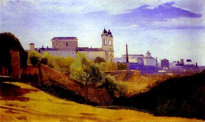 Jean-Baptiste-Camille Corot. Rome: The Church of Trinità dei Monti Seen from the Valley of Trinità dei Monti.