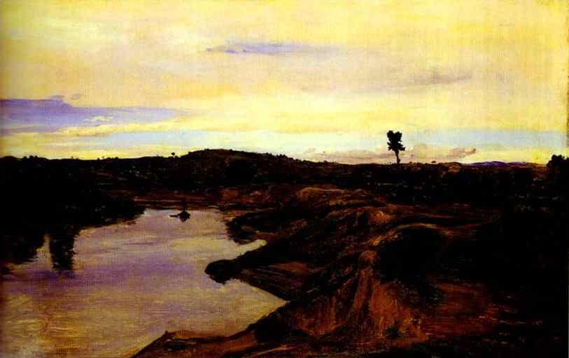 Jean-Baptiste-Camille Corot. Poussin's Walk, The Roman Campagna.