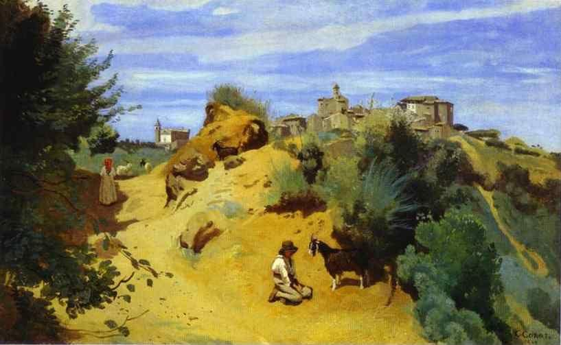 Jean-Baptiste-Camille Corot. Genzano. Goatherd and View of a Village.