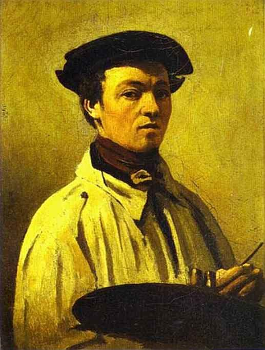 Jean-Baptiste-Camille Corot. Self-Portrait with Palette in Hand.
