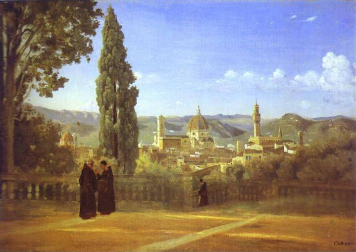 Jean-Baptiste-Camille Corot. Florence. View from the Boboli Gardens.