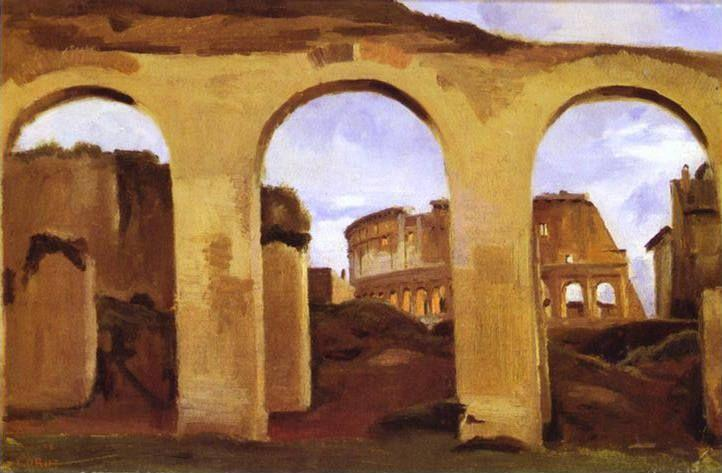 Jean-Baptiste-Camille Corot. The Colosseum Seen through the Arcades of the Basilica of Constantine.