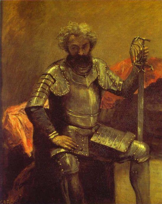 Jean-Baptiste-Camille Corot. Man in Armor or Seated Man at Arms.