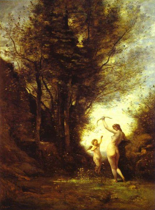 Jean-Baptiste-Camille Corot. A Nymph Playing with Cupid.