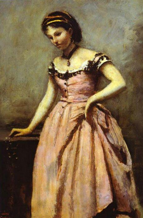 Jean-Baptiste-Camille Corot. Young Woman in a Pink Dress.