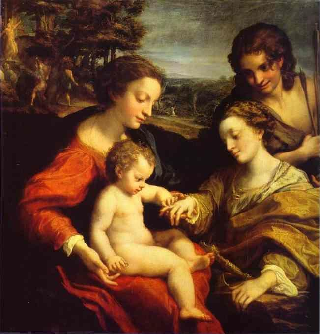 Correggio. The Mystic Marriage of St. Catherine, with St. Sebastian; in the Background is the Martyrdom of Two Saints.