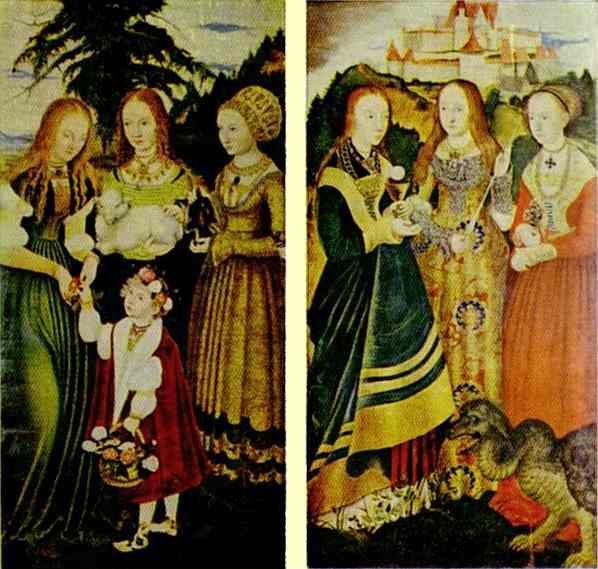 Lucas Cranach the Elder. St Catherine Altarpiece (Left and right wings).
