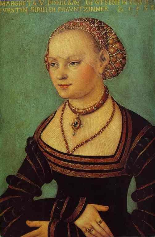Lucas Cranach the Elder. Portrait of Margarethe von Ponickau.