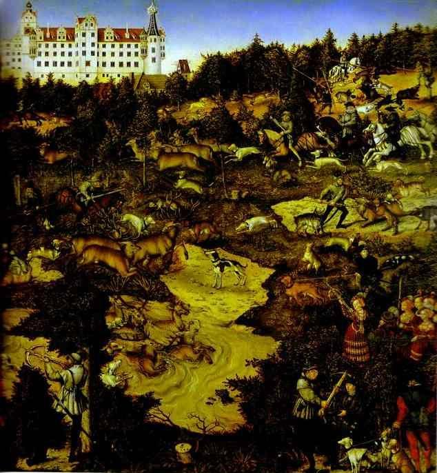 Lucas Cranach the Elder or Lucas Cranach the Younger. A Hunt in Honor of Charles V at Torgau Castle . Detail.