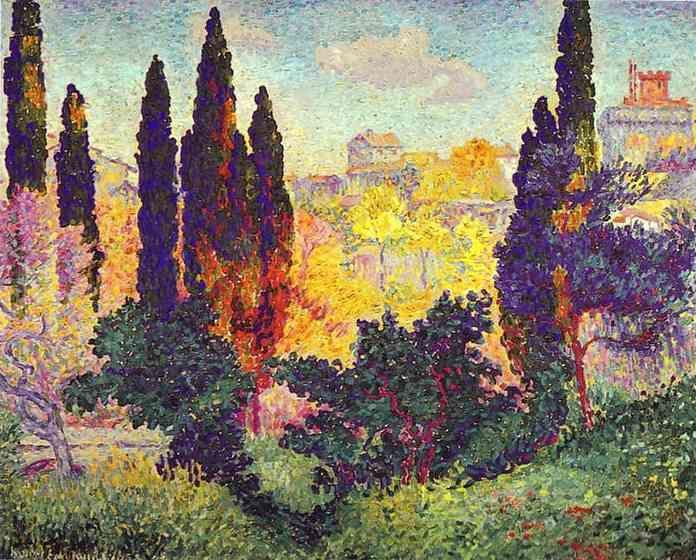 Henri-Edmond Cross. Cypress Trees at Cagnes.