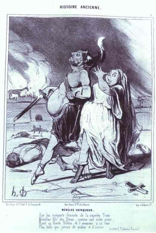 "Honoré Daumier. Menelas the Victor. From the ""Ancient History"" Series."