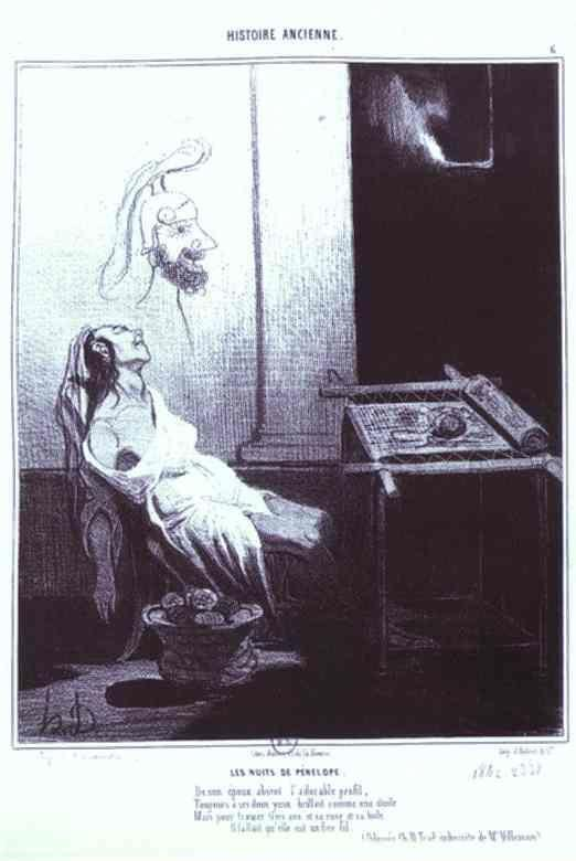 "Honoré Daumier. Penelopa's Dream. From the ""Ancient History"" Series."
