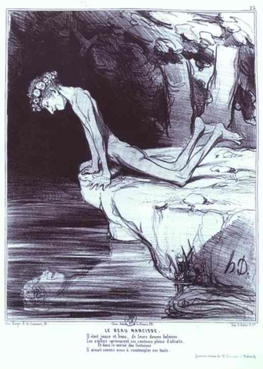 "Honoré Daumier. The Beautiful Narcissus. From the ""Ancient History"" Series."