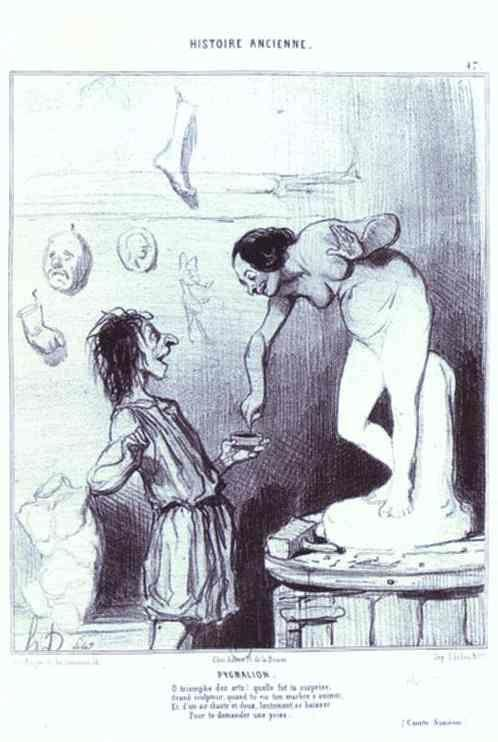 "Honoré Daumier. Pygmalion. From the ""Ancient History"" Series."