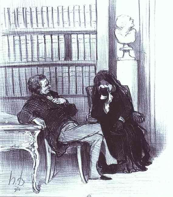 Honore Daumier. The Widow at a Consultation. From the Series Les Gens de justice.