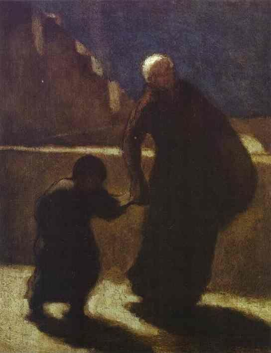 Honore Daumier. Woman and Child on a Bridge.