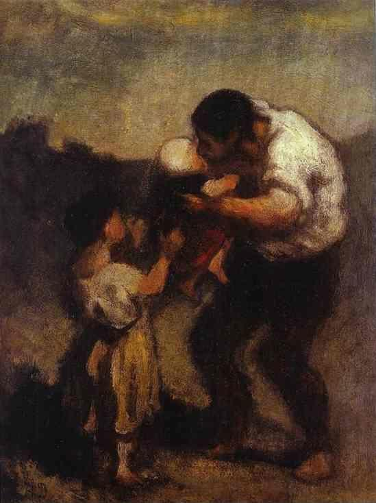 Honore Daumier. The Kiss.