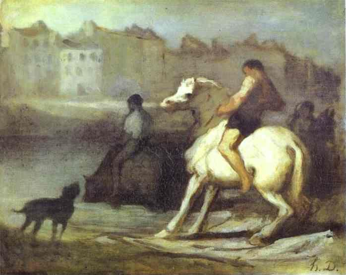 Honore Daumier. The Horses Drink.
