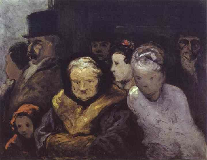 Honore Daumier. Exit from the Theatre.