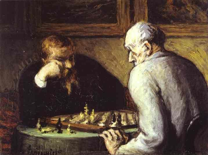 Honore Daumier. Chess-Players.