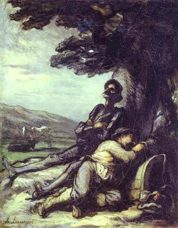 Honore Daumier. Don Quixote and Sancho Pansa Having a Rest under a Tree.