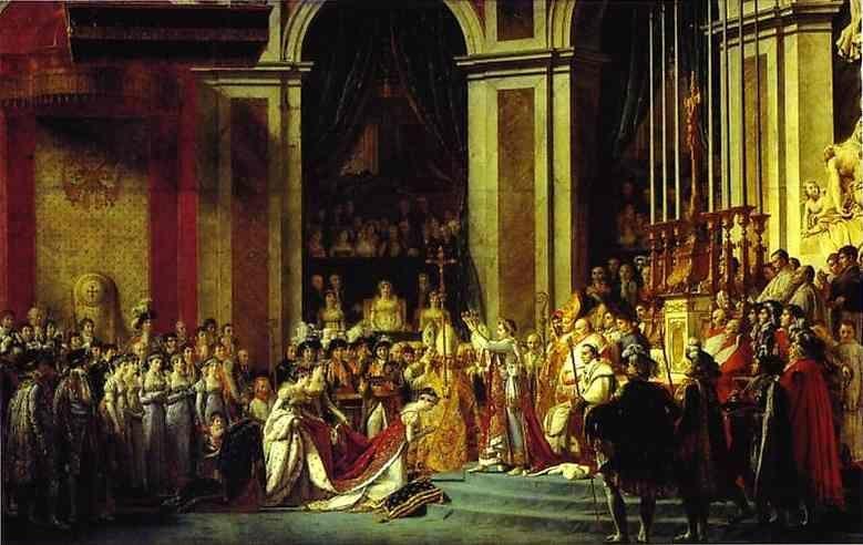Jacques-Louis David. Consecration of the Emperor Napoleon I and Coronation of the Empress Josephine in the Cathedral of Notre-Dame de Paris on 2 December 1804.
