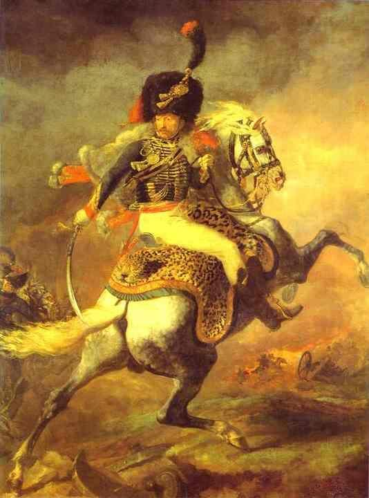 Jean Louis André Théodore Géricault. An Officer of the Imperial Horse Guadrs Charging, also Chasseur Charging.