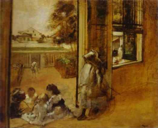 Edgar Degas. Courtyard of a House in New Orleans.