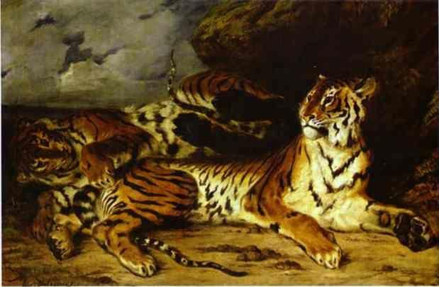 Eugène Delacroix. A Young Tiger Playing with its Mother.