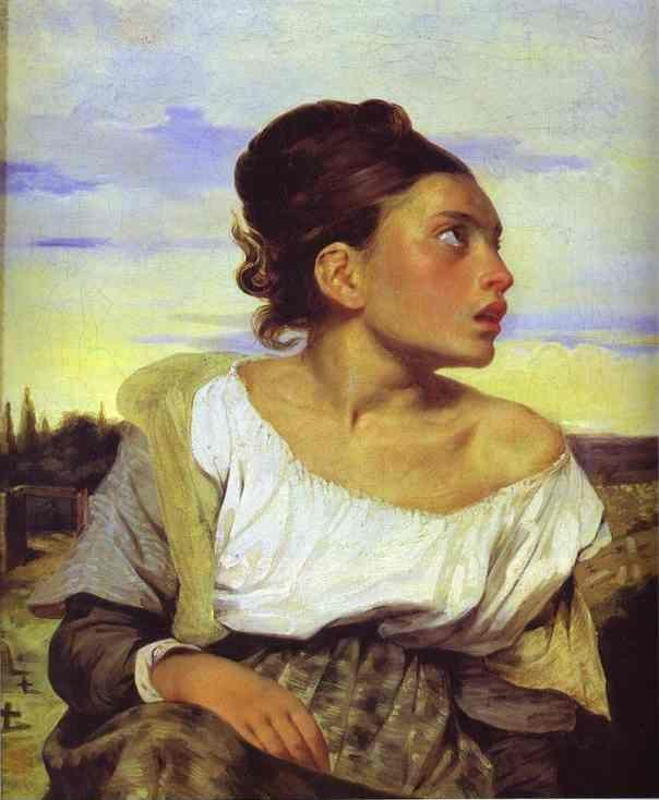 Eugène Delacroix. Girl Seated in a Cemetery.