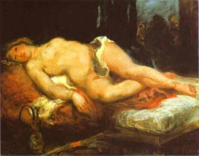 Eugène Delacroix. Odalisque Reclining on a Divan.