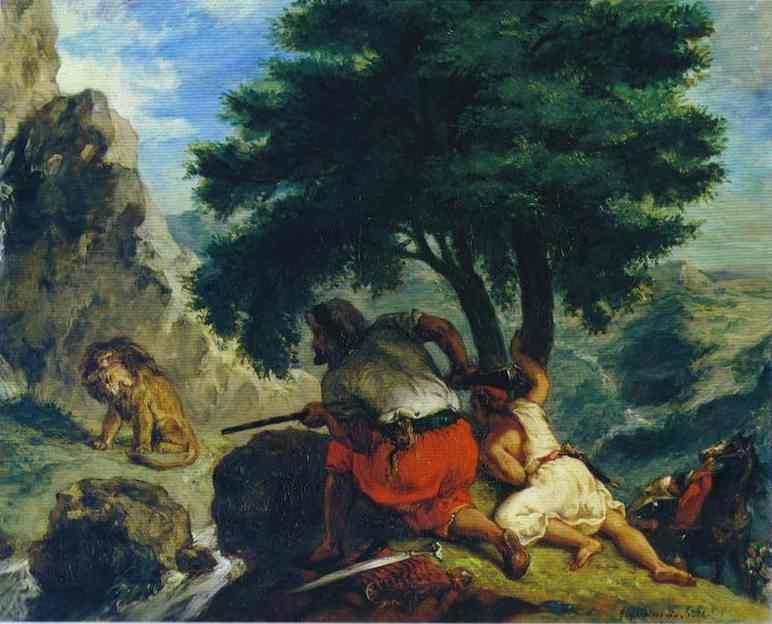 Eugène Delacroix. The Lion Hunt in Marocco.