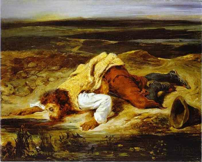 Eugène Delacroix. A Mortally Wounded Brigand Quenches His Thirst.