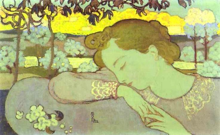 Maurice Denis. The Sleeper or Young Girl Asleep/La Dormeuse ou Jeune Fille endormie.