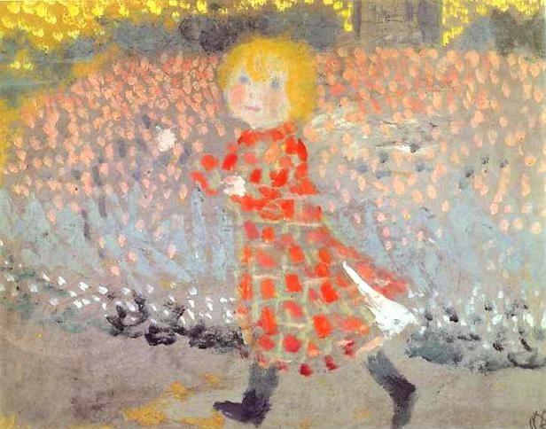 La petite fille a la robe rouge