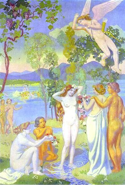 Maurice Denis. The Story of Psyche. Panel 1: The Flying Cupid is Struck by Psyche's Beauty.