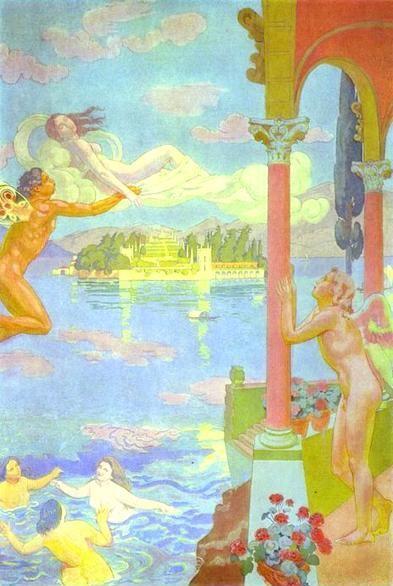 Maurice Denis. The Story of Psyche. Panel 2: Zephyr Transporting Psyche to the Island of Delight.
