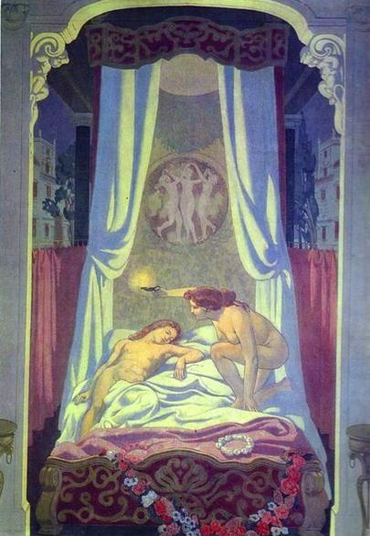 Maurice Denis. The Story of Psyche. Panel 3: Psyche Discovers her Misterious Lover is Cupid.