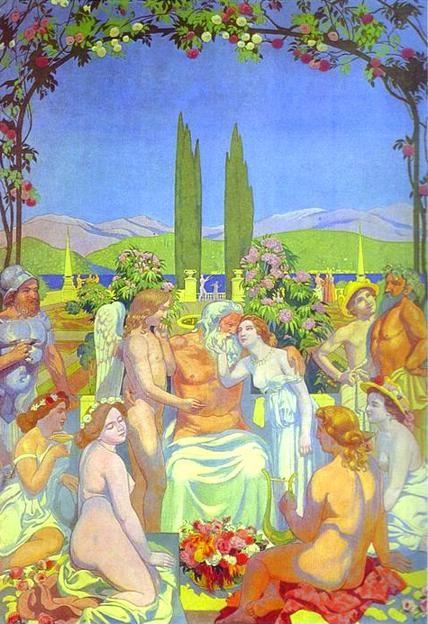 Maurice Denis. The Story of Psyche. Panel 5: In the Presence of the Gods, Jupiter Bestows Immortality on Psyche and Celebrates her Marriage to Cupid.