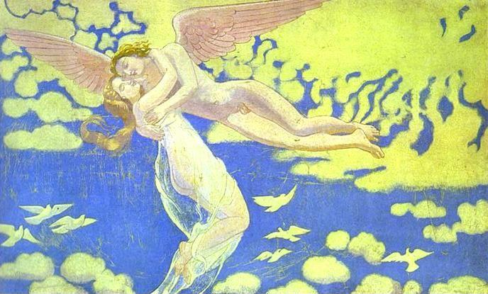 Maurice Denis. The Story of Psyche. Panel 7: Cupid Carrying Psyche up to Heaven.