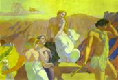Maurice Denis. The Story of Psyche. Panel 6: Psyche's Kin Bid Her Farewell on a Mountain Top.