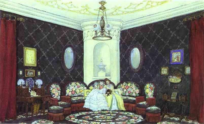 Mstislav Dobuzhinsky.  in Moscow Art Theater. The Blue Lounge. Set design for Act I of Turgenev's A Month in the Country.