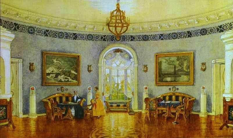Mstislav Dobuzhinsky. The Blue Lounge. Set design for Act I of Turgenev's in Moscow Art TheaterÑŽ A Month in the Country.