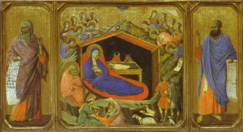 Duccio di Buoninsegna. Maestà (front, predella) The Birth of Christ. The Prophets Isaih and Ezekiel.